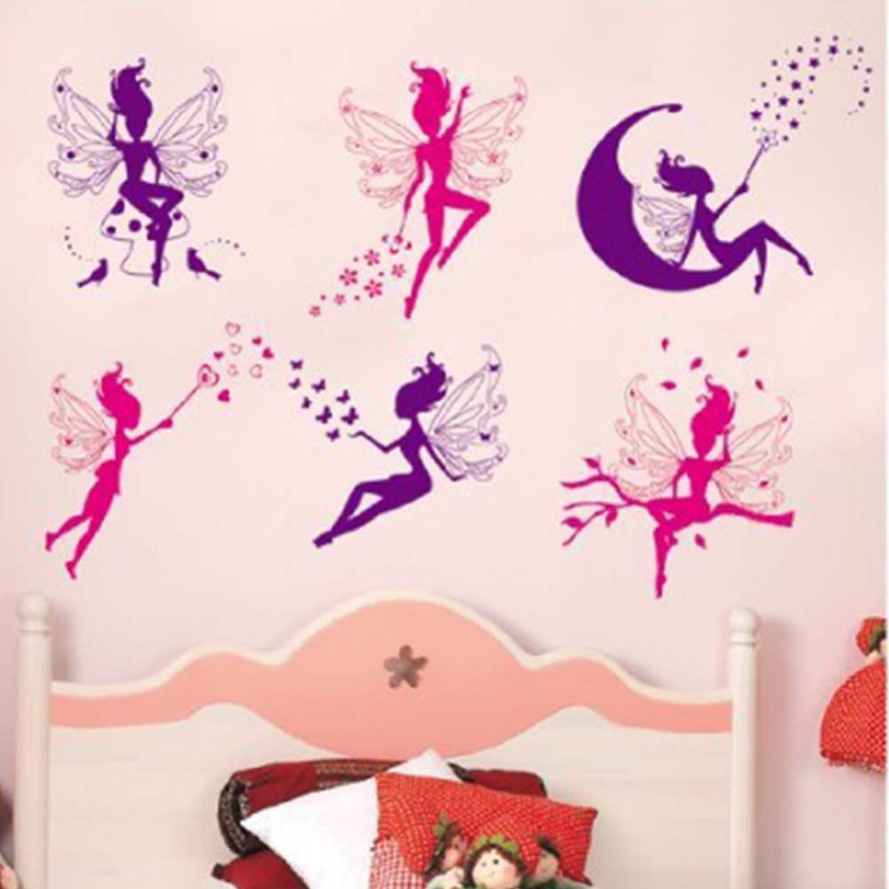 Buy 6pcs pink purple fairy silhouette for Stickers de pared