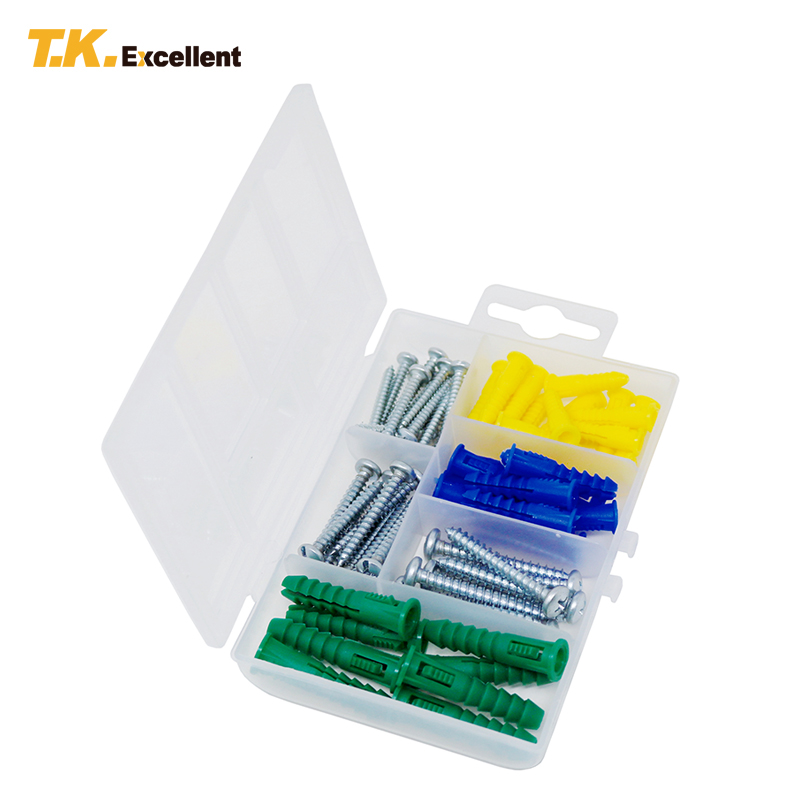 T.K.excellent 66 Pcs Metal Screw Phillips Flat Head Self Tapping Screws and Plastic Nylon Ribbed Anchors Assortment Screws Kit