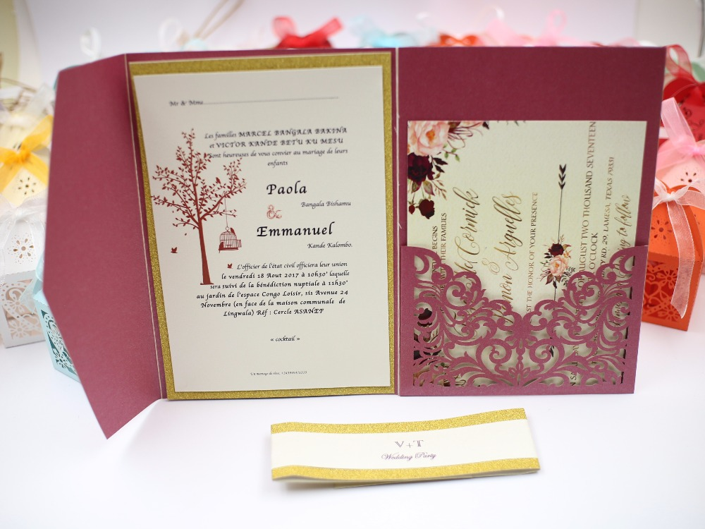 2017 New Style Chinese Red Envelope Burgundy Tri Fold Laser Cutting Elegant Europe Wedding Invitation Cards With Por Design In Invitations From