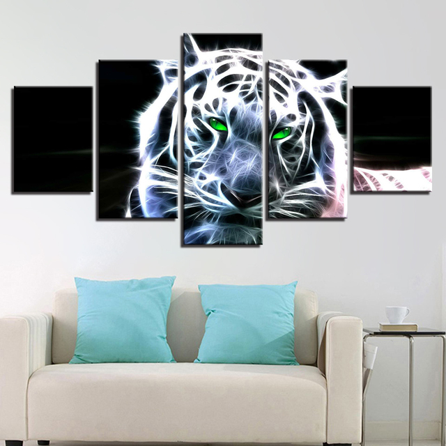 תמונות מודפסות 5 פנל המודרני HD נמר עיניים ירוק קישוט בית אמנות קיר בד ציור מסגרת פוסטר לסלון