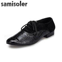Samisoler Black Mens leather ballroom dance shoes Flats Modern Tango Party Wedding Square