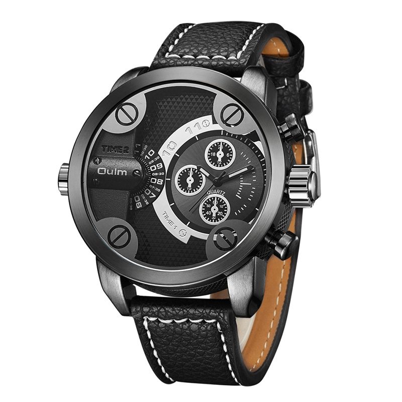 Oulm Mens Watches Top Brand Luxury Man Quartz Watch Big Dial Sports Leather Wrist Watches Casual Male Clock relogio masculino oulm 3548 authentic mens 5 5cm large dial watches leather band dual time japan movt quartz watch relogio masculino grande marca