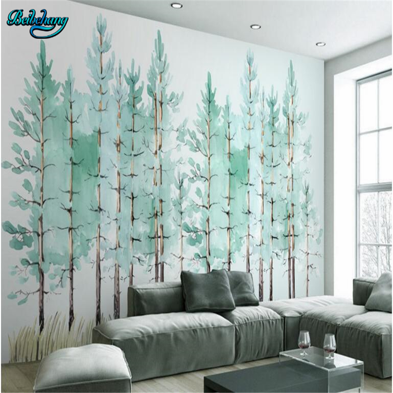 Us 8 85 41 Off Beibehang Large Custom Wallpaper Mural Modern Fashion Mint Green Fresh Woodland Background Wall Mural In Wallpapers From Home
