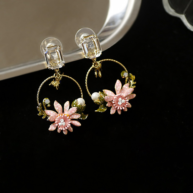 Antique peint à la main émail bijoux mignon bleu pierre abeille et rose fleur boucles doreilles carré cristal oreille goujons cercle boucles doreilles