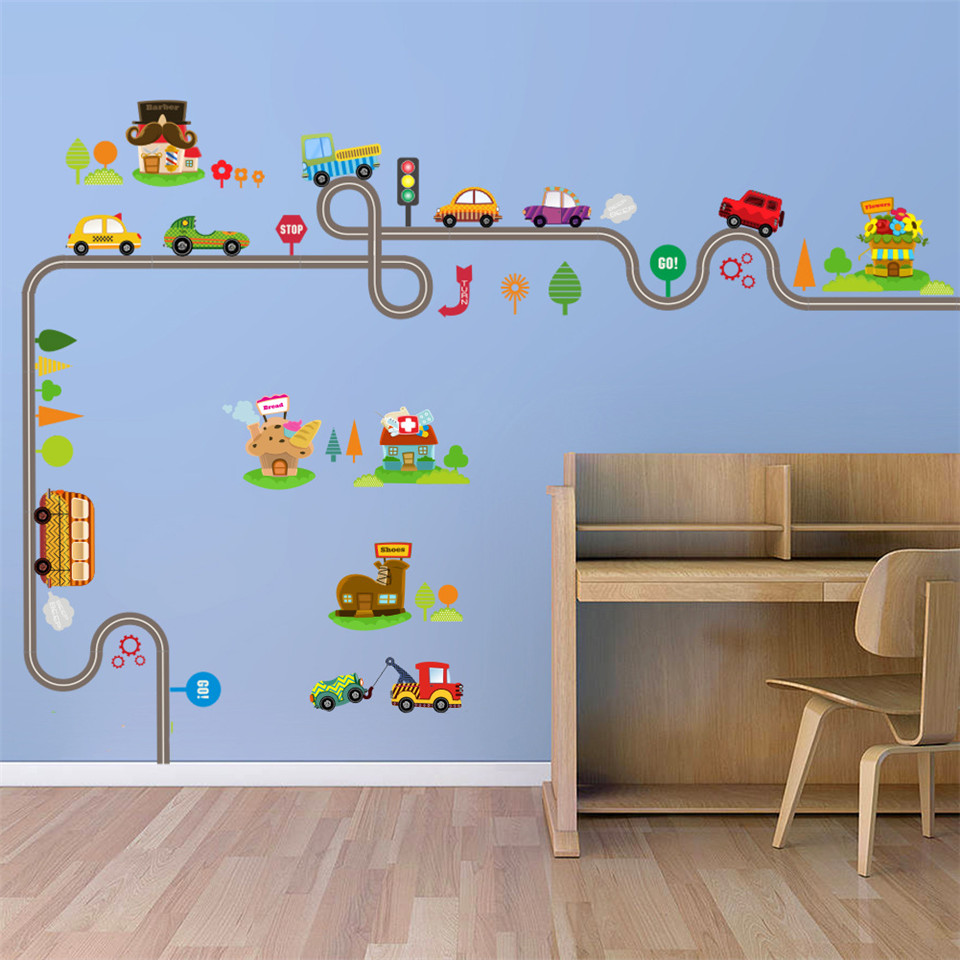 US $3.76 5% OFF|Cartoon Cars Wall Stickers For Kids Room Playroom Tree  Trail Bus Vinyl Children\'s Bedroom Decoration Decal Self Adhesive Murals-in  ...