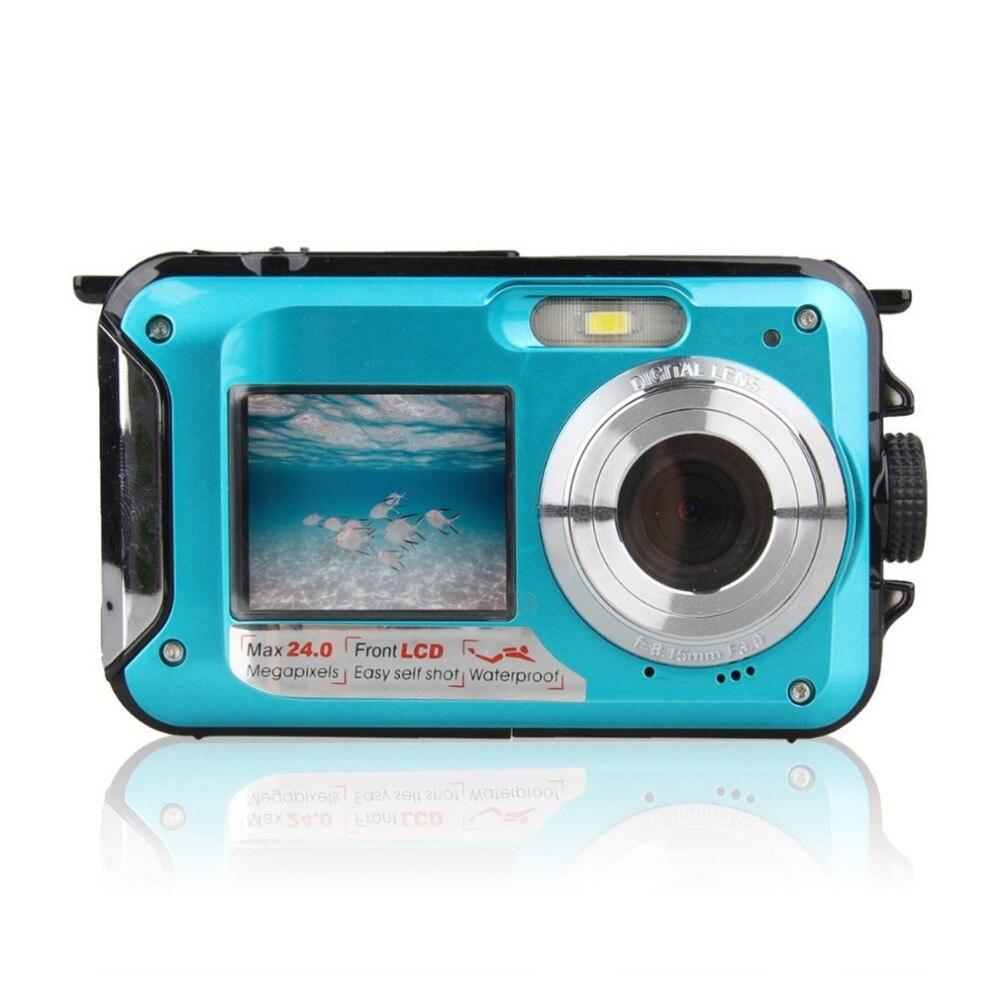 Double Screen 24MP Waterproof Digital Video Camera 1080P HD DV Portable 16x Zoom Underwater Camera Easy Self Shot Digital Camera цена