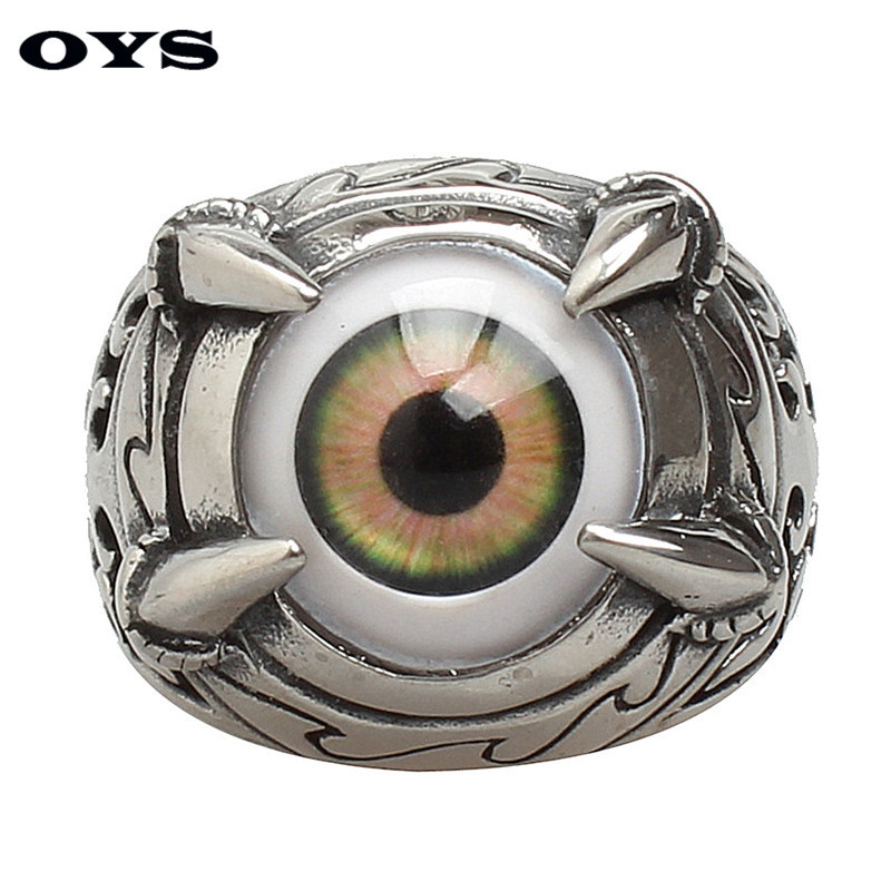 Resident Devil Eye Rings Men Titanium Stainless Steel Party Fashion Trendy Green Evil Eye Punk Men Jewelry Bands Ring G328
