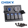 4 Gang Boat Rocker Switch Panel Dual USB Cigarette Lighter Socket Car Switch Panel LED Switch USB Marine Switch Panel