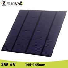 SUNWALK 6 V 3 W 500mA Polycristallin de silicium Mini Panneau Solaire module Cellulaire pour Chargeur DC Batterie DIY 145*145mm