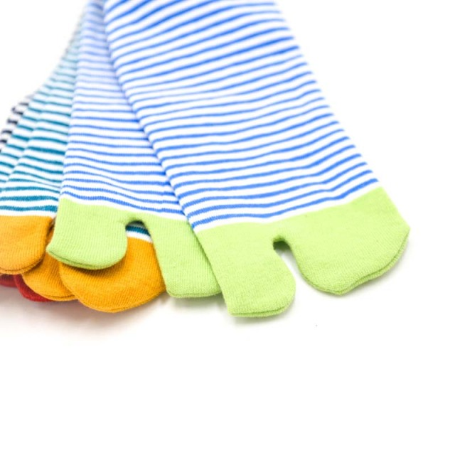 1 Pair Women's Striped Cotton Toe Socks 3