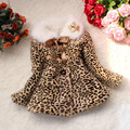 Autumn winter children clothing baby girls Leopard faux fox fur collar coat with bow wear Clothes baby outerwear dress jacket