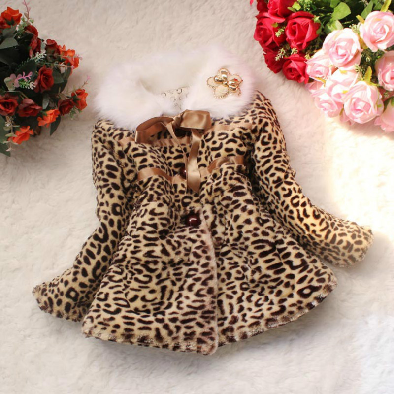 Autumn winter children clothing font b baby b font girls Leopard faux fox fur collar coat