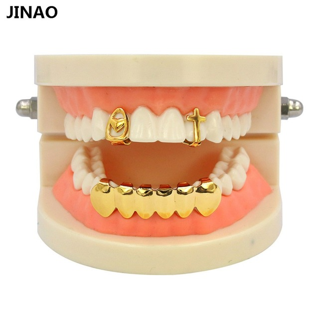 JINAO Open Face Gold Color Plated Single Cross   Heart Grillz Cap Top Upper  Canine Classic Bottom Tooth Grills Hip Hop Grill Set 32b831cee667