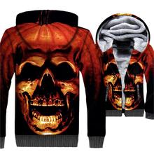 Halloween Jacket Pumpkin Hoodie Men Spoof Funny Sweatshirt Winter Thick Fleece Warm Zip up 3D Print Coat Swag Hip Hop Sweetwear