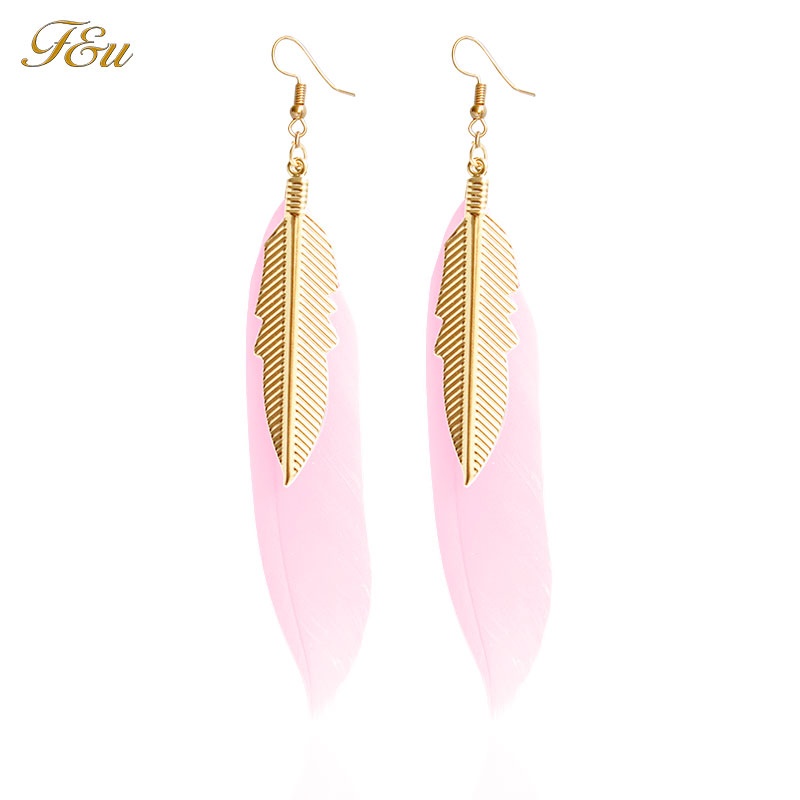 F&U 6 Different Colors Feather Dangle Earrings with Gold Color Small Feather Earrings for Women