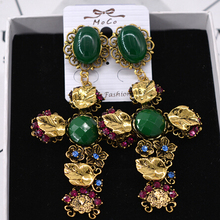 BIG Baroque style head gold cross rose earrings vintage dangle for women new fashion jewelry wholesale free shipping