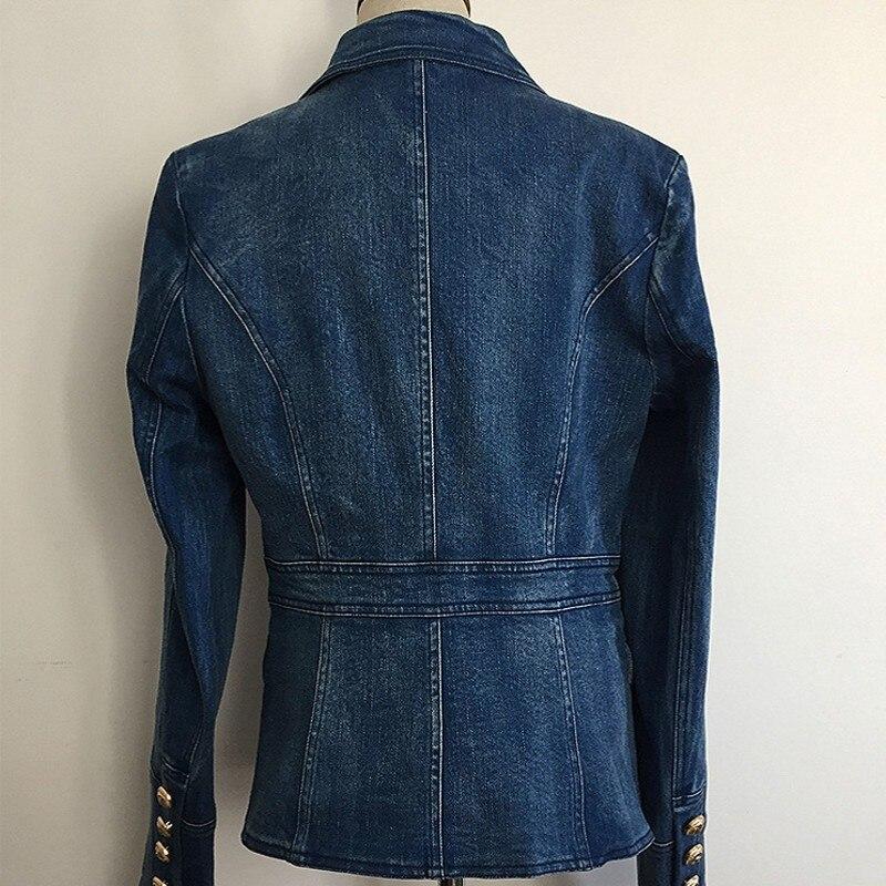Feamle col rabattu bouton d'or Denim Jacekt mode Double boutonnage Streetwear survêtement Slim bureau dame Jeans manteaux - 3