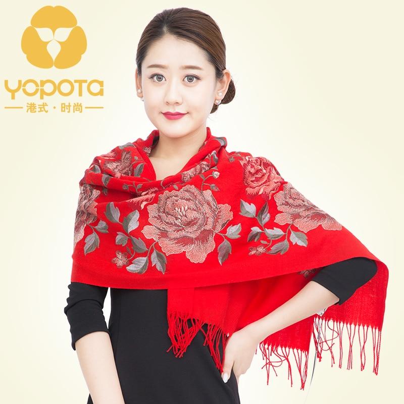 Фото Hongkong Yopota lady wool scarf spring autumn winter Chinese style thickened keep warm embroidery oversize long shawl