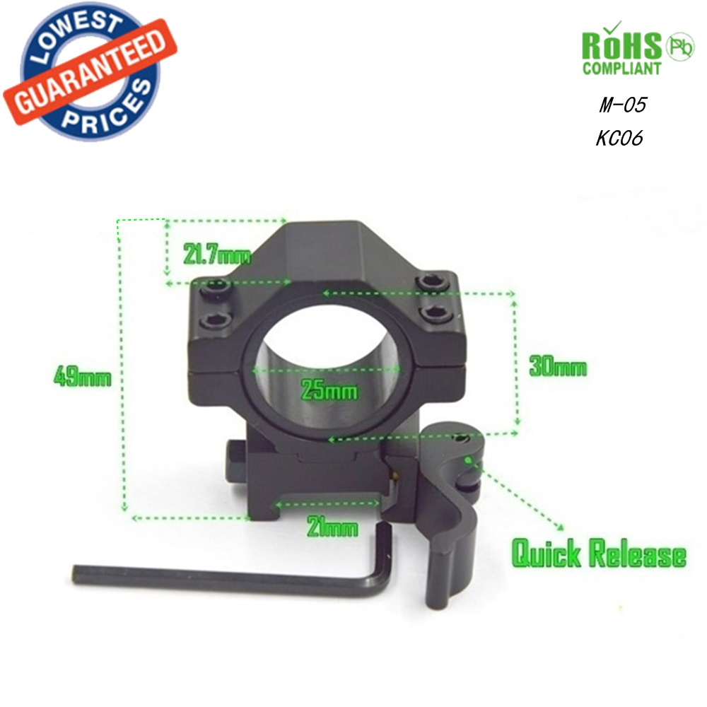AloneFire M-05 Aluminum 21mm Rail Tactical Mount Holder For 25MM 30mm Flashlight Picatinny Tactical Quick Release Mount 1PC