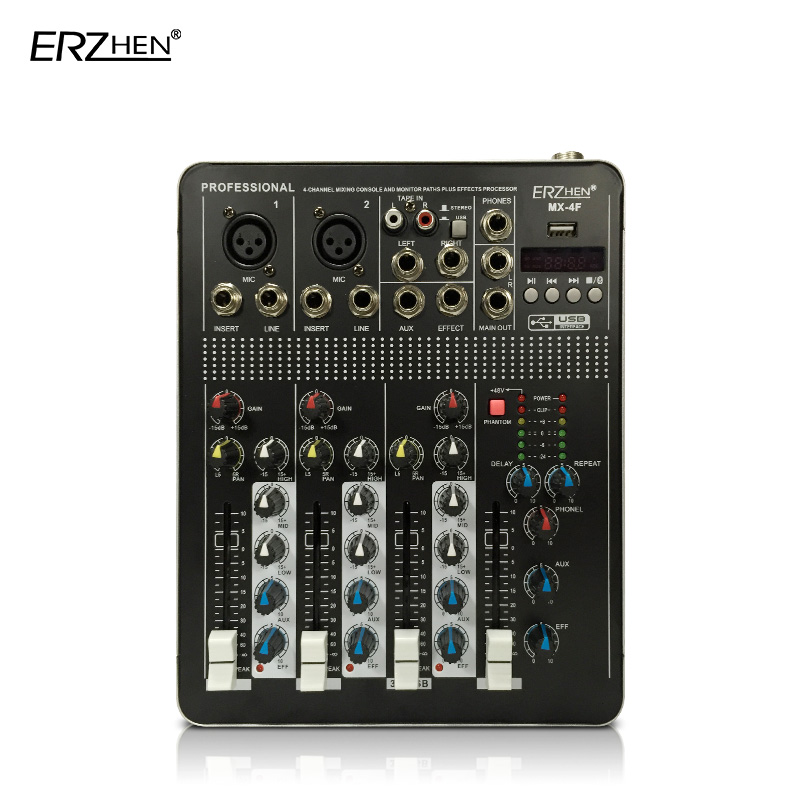 Audio Mixer Console with USB 4 Channel Mixer Sound Console DJ Equipment / 48V Phantom Power Supply 4F with Bluetooth audio mixer cms1600 3 cms compact mixing system professional live mixer with concert sound performance digital 24 48 bit effects