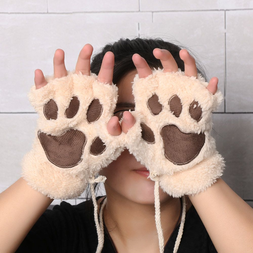 1Pair Women Girls Lovely Winter Warm Fingerless Gloves Fluffy Bear Cat Plush Paw Claw Half Finger Gloves Mitten