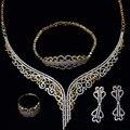 Conjuntos de Jóias de casamento das mulheres banhado a ouro com Zircão Cúbico 4 pcs conjuntos (colar + pulseira + brincos + anel) remessa livre