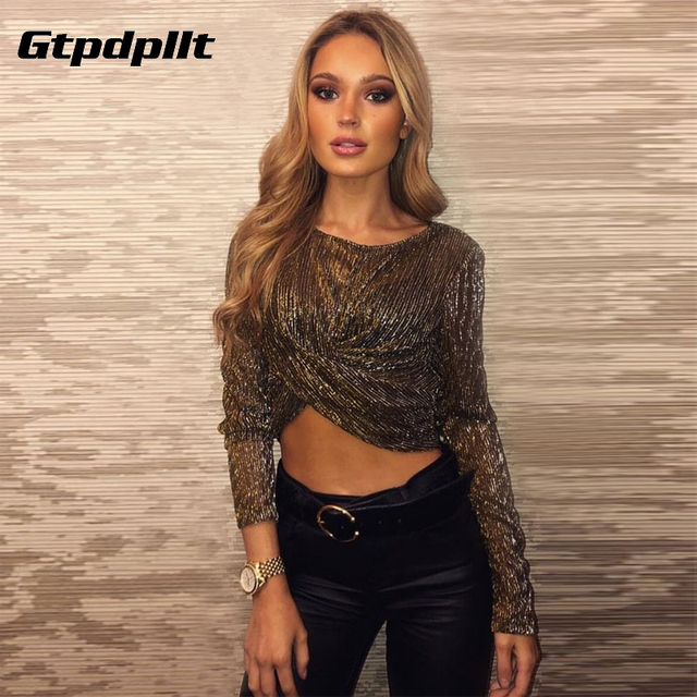 Gtpdpllt long sleeve reflective see-through sexy crop tops 2018 autumn  winter women fashion Christmas party T-shirts b59b46082794