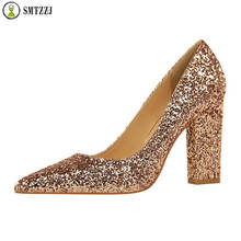 Luxury Bling Spring Classic Pumps Fashion Wedding Shoes Black Block Women High Heels Square Heel Ladies Shoes Sexy Party Shoes