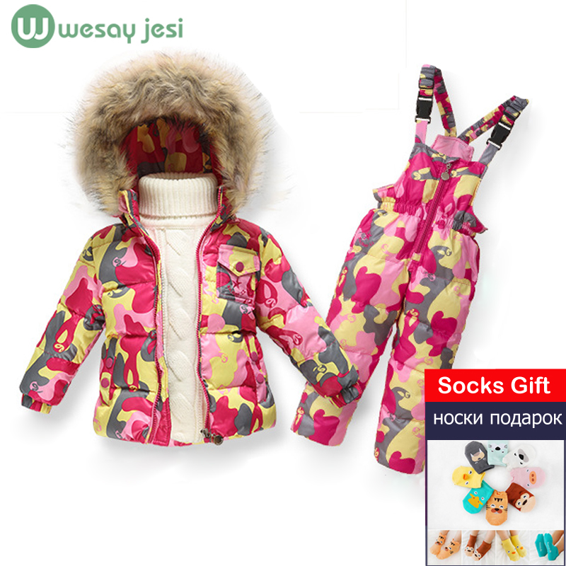 1~5 Y NEW winter children clothing sets duck down jacket sets pants-jacket hooded baby girls winter jacket & coat snowsuits