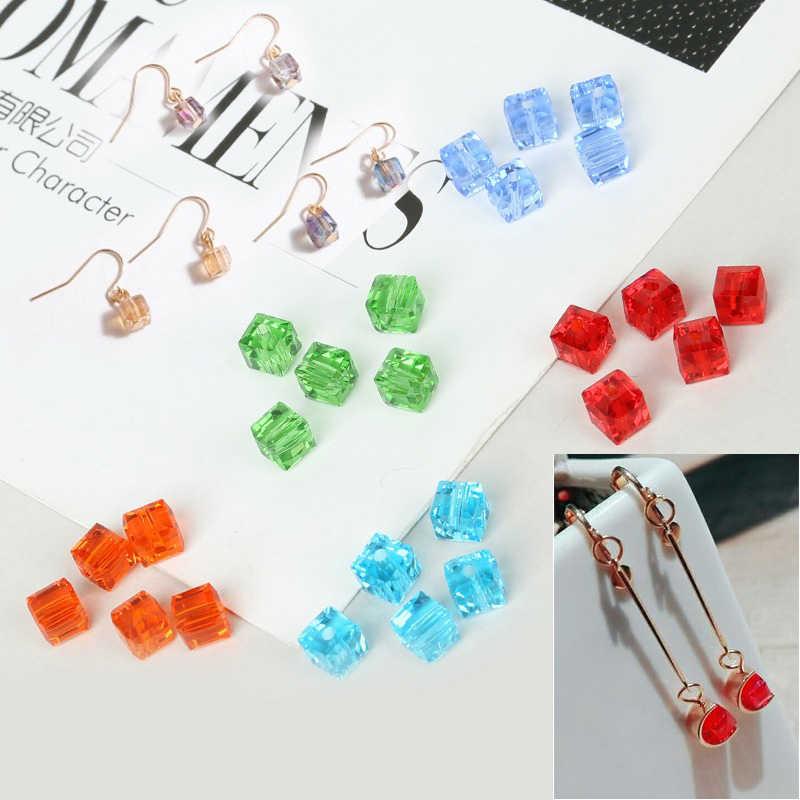Gute Qualität 20 stücke Glasperlen Platz Faceted 6x6mm Kristall Perlen Für DIY Ohrring Armband Halskette Schmuck handwerk Finden