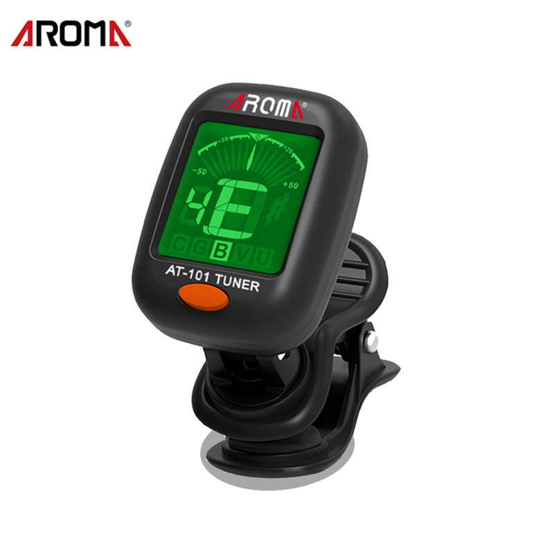 AROMA AT-101 Digital Clip-on Electric Guitar Tuner Foldable Rotating Clip High Sensitivity Ukulele Guiatr Parts & Accessories