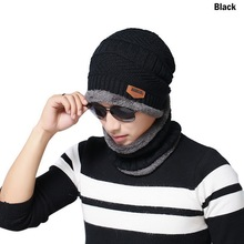 Drop shipping Shujin Winter 2-Pieces Beanie Hat Scarf Set Warm Knit Thick wool Lined Cap Scarf For Men Women