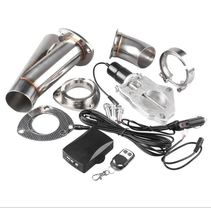 Auto modificatie universele staart keel modificatie 2.5, 3 inch aluminium elektrische controle uitlaatpijp met afstandsbediening - 5