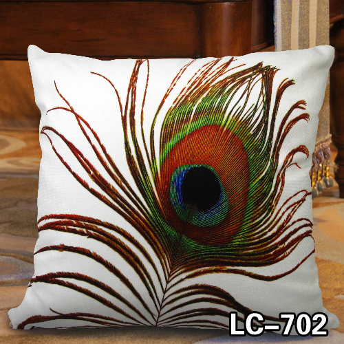 Print Home Decoration Pea Feather Sofa Cushion Pillow High Quality Soft Velvet Fabric