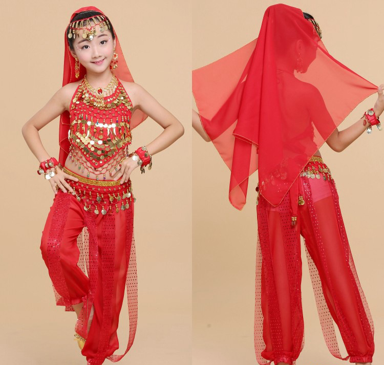 New Handmade Children Belly Dance Costumes Kids Belly Dancing Girls Bollywood Indian Performance Cloth Whole Set 4 Colors
