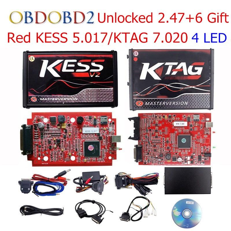 Online V2.47 EU KESS V5.017 KESS V2 5.017 No Token 4 Led KTAG V7.020 BDM Frame OBD2 Manager Tuning K-TAG 7.020 2.23 ECU Program