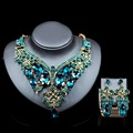 Lan palacio de lujo dubai conjuntos de joyas de oro de Cristal Rhinestone collar y los pendientes para la boda de seis colores envío libre