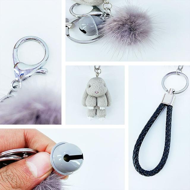 Rabbit Keychain Pokemon Fluffy Fur Ball Key Chains for Women Bags Pendant Decoration Pom Poms Keyring Fashion Kids Easter Gifts 3