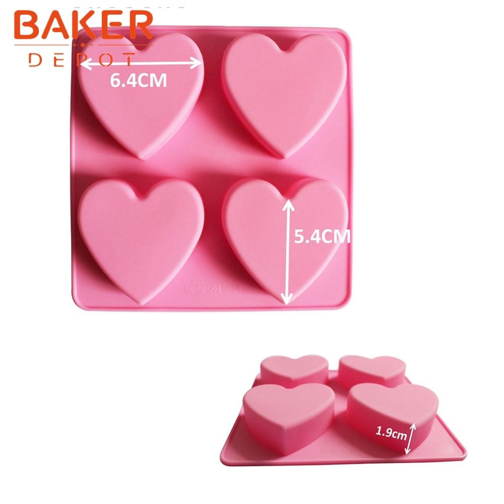 っHandmade cake biscuit DIY silicone cake molds 4 lattices heart ...