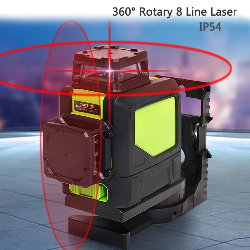 Best Price 8 Lines 360 Degree Rotary Laser Self Leveling Vertical Horizontal Red Cross Lines Laser Level Measure Tools Kit купить