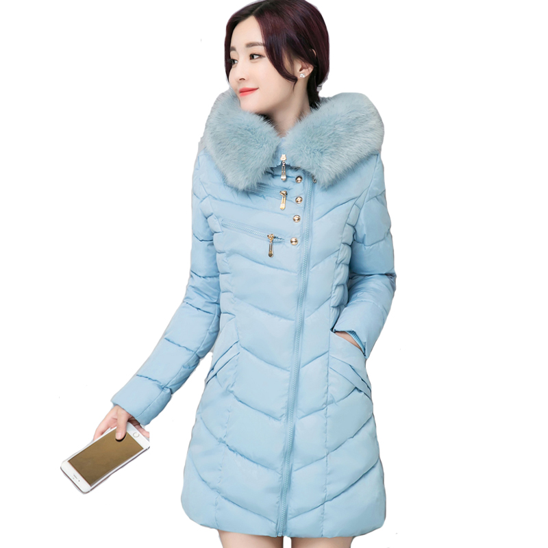 2017 women winter hooded coat female big fur collar slim jacket ladies cotton padded long parka inverno outerwear overcoat women winter coat leisure big yards hooded fur collar jacket thick warm cotton parkas new style female students overcoat ok238