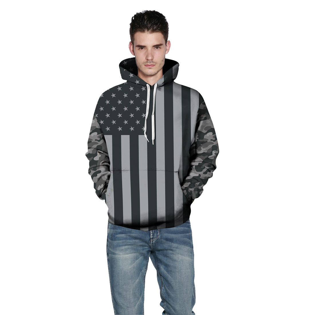 Men/Women New Fashion Hoodies Sweatshirts 3d America Flag Striped Stars Print Hooded Tracksuits Pullover