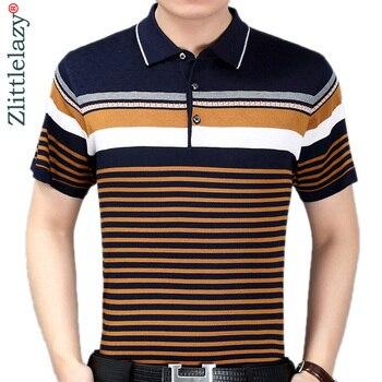12a1a95b2a2 Camisa de polo de verano para hombre, de manga corta, polos, camisas a rayas,  ajustada, para hombre, ropa para hombre, vestido de bodybuilding streetwear  ...