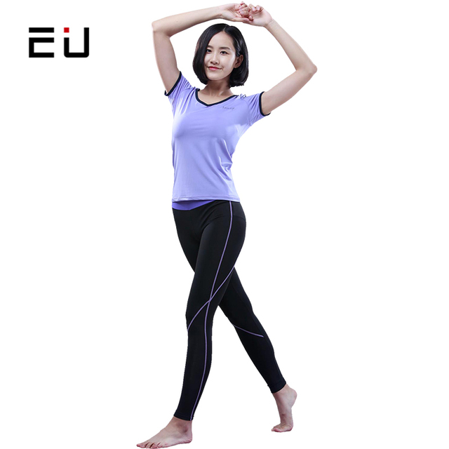 EU Women Sports Wear Quick Dry Gym Fitness Sport Cloth for Women Summer  Sport Suit Women s Yoga Suits Sets Compression Pant Set 55a4da4ab6a0