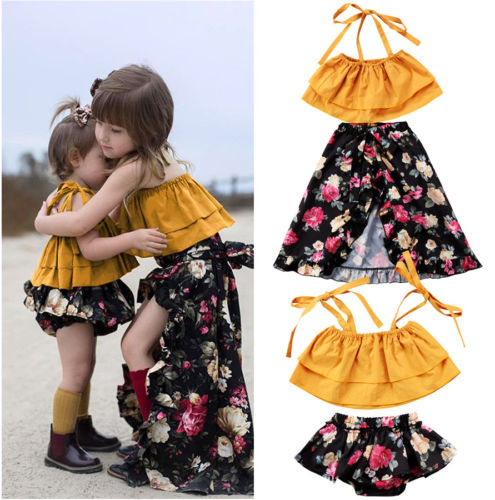 2Pcs Summer Toddler Baby Kids Girls Sister Matching Strap Tops Floral Shorts Clothes Bottoms/Dress Outfits Clothing Set 0-6Years