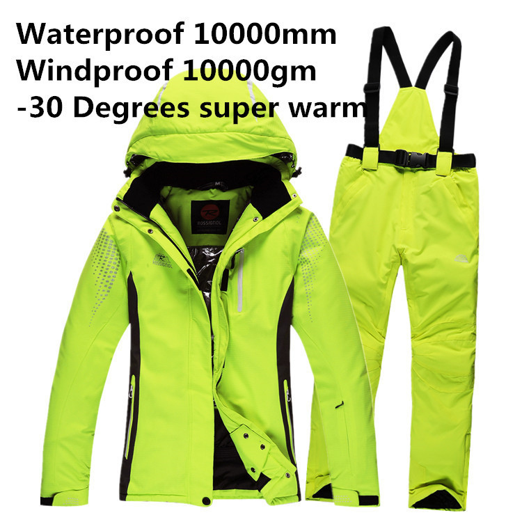 Free Shipping Men Winter Waterproof Pant And Jacket Ski Suit Snowboard Suit Sport women Snow Pants and Jacket -30 Degree