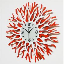 Exquisite Coral Flower Wall Clock Import Movement Art Creative Wall Clock Home Living Room Bedroom Fashion Decorative Wall Clock
