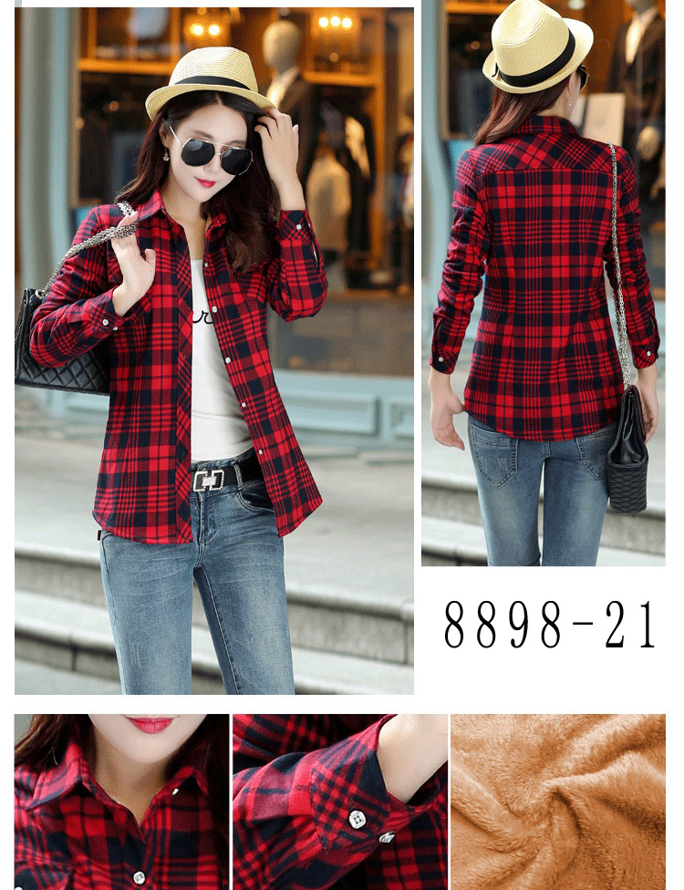 HTB1ACNmRVXXXXXIaXXXq6xXFXXXr - Velvet Thick Warm Women's Plaid Shirt Female Long Sleeve