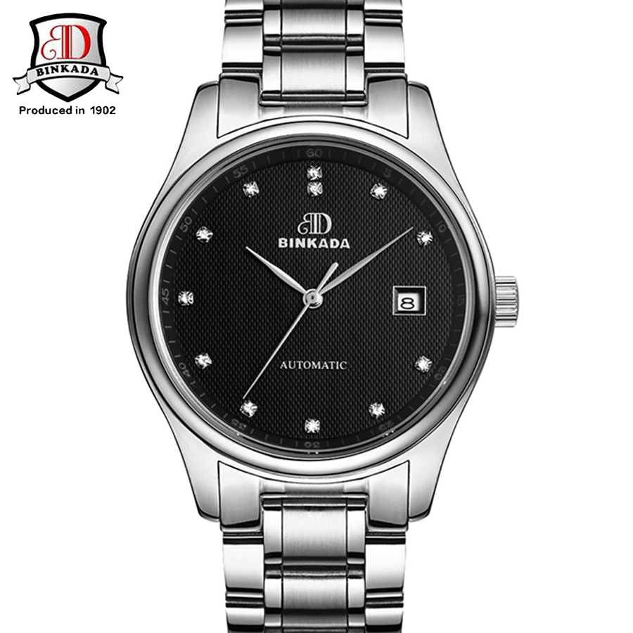 BINKADA 2017 Auto Date Display Relogio Full Steel Analog Mens Casual Clock Wrist Men Automatic Mechanical Watch