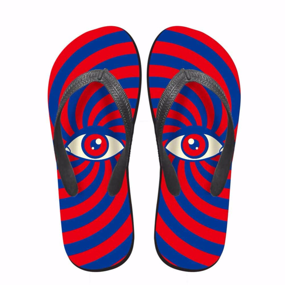 Noisydesigns Colorful striped eyes man shoes printed tongs homme - Men's Shoes - Photo 4